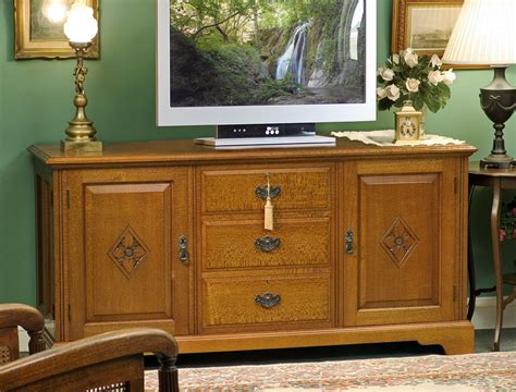 buffet tv cabinet 3 drawer with carved doors lacewood