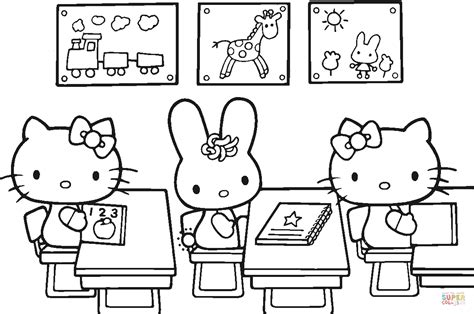 hello kitty back to school coloring page free printable