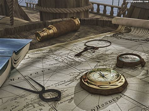 old boat navigation tools visual paradox free 3d wallpaper off course 1024x768