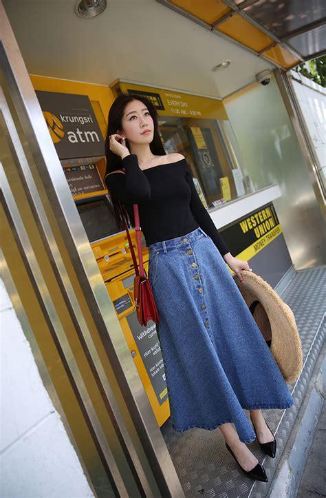Basic Umbrella Maxi denim korean a line umbrella college student maxi denim