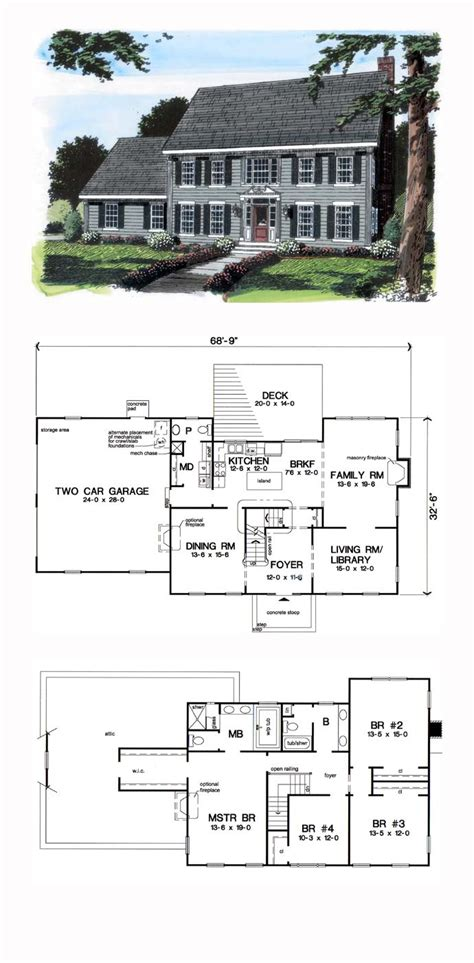 colonial house plan 2018 plans maison en photos 2018 colonial house plan 24970 total living area 2616 sq ft 4
