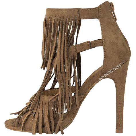 fringe sandals heels womens fringe high heel sandals tassel