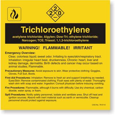 Trichloroethylene Ansi Chemical Label Sku Lb 1584 126