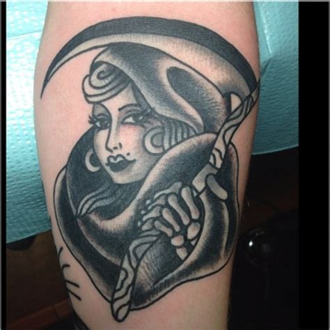 traditional grim reaper tattoo reaper on