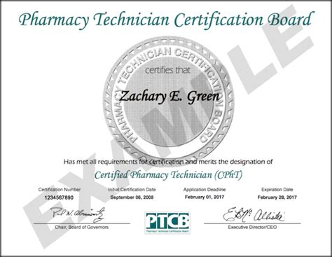 Pharmacy Board Certification new official certificate design 2017 ptcb pharmacy