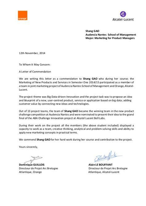 lettre de recommandation shang gao