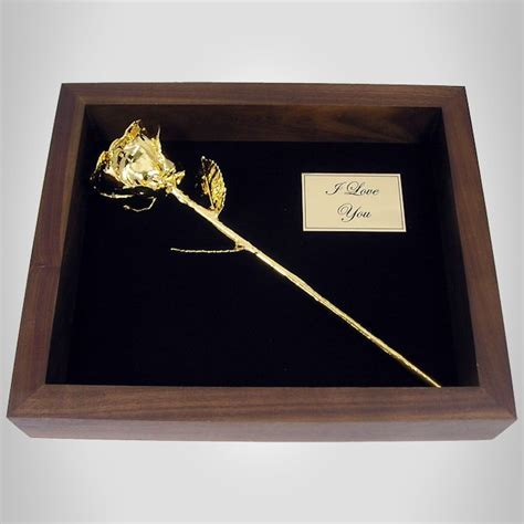 "11"" Gold Dipped Rose in Personalized Shadow Box: Love Is A"