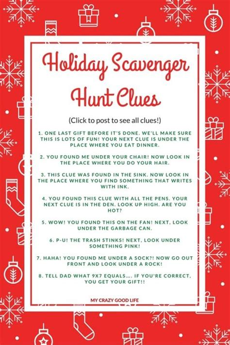 holiday scavenger hunt scavenger hunt clues and