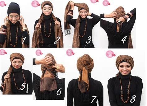 memakai turban style tutorial hijab