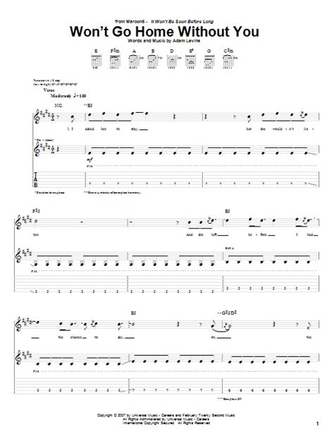 maroon 5 won t go home without you lyrics won t go home without you guitar tab by maroon 5 guitar