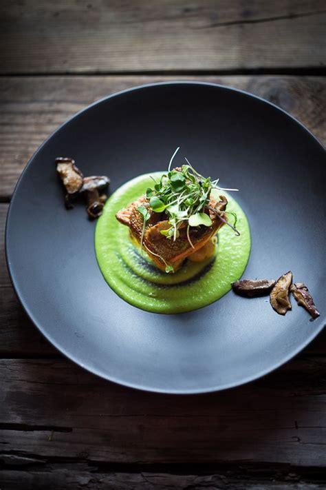 17 best ideas about dinners on food plating ideas and fancy food pan seared steelhead w mushrooms new potatoes truffled pea sauce recipe colors
