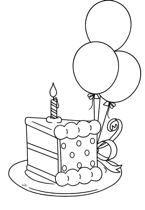 coloring pictures of birthday balloons slice the cake that will be packed birthday coloring pages
