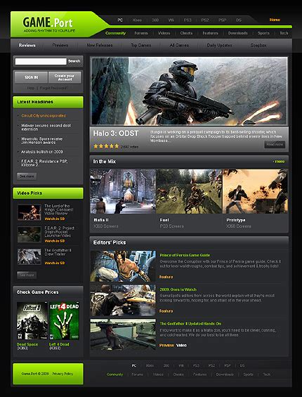 game website layout games website template 23763