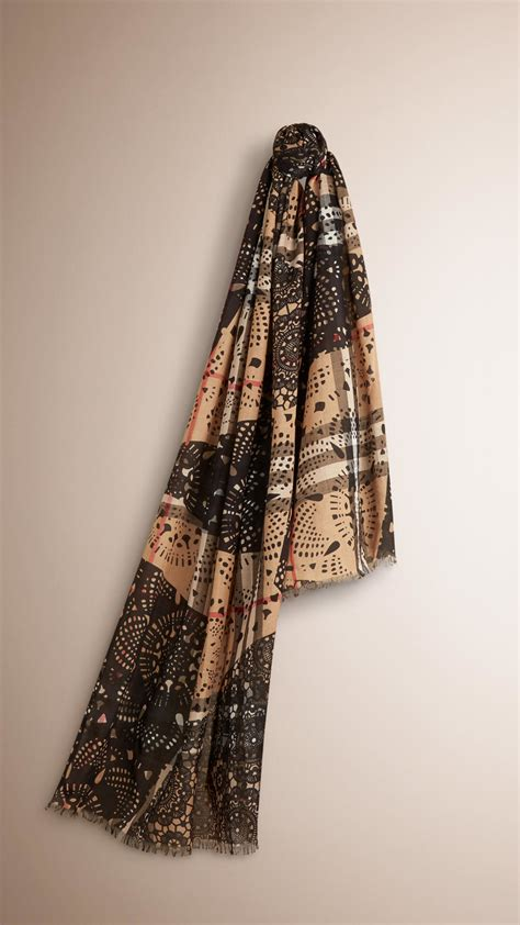 Lace Patchwork - burberry patchwork lace print check wool silk scarf in