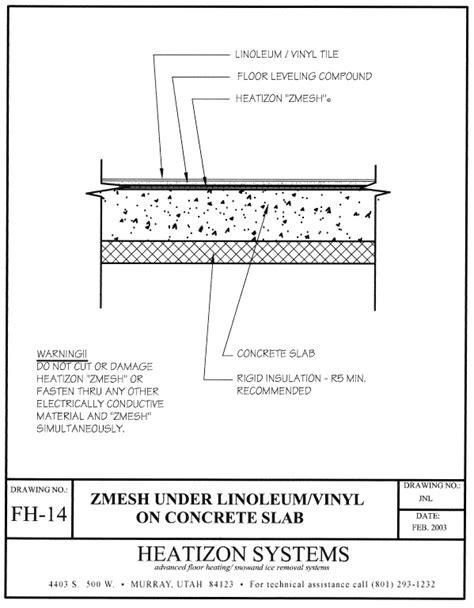 concrete slab diagram vinyl linolem on concrete slab
