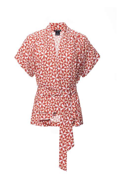 Kimono Blouse Edition kimono style wrap blouse with a tie waist and geometric