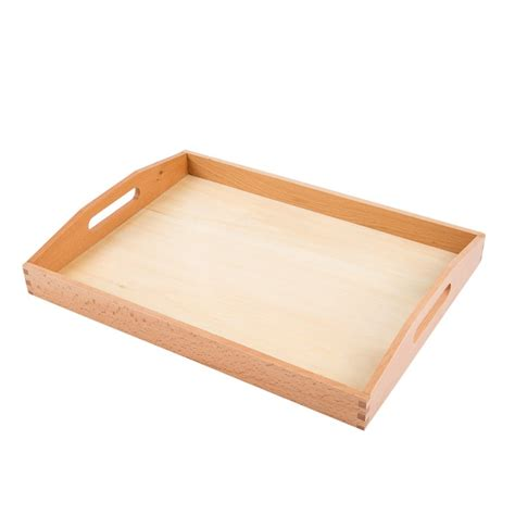 large wooden tray with cutout handles e o montessori