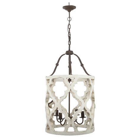 Distressed White Chandelier 4 Light Quatrefoil White Distressed Chandelier Painted