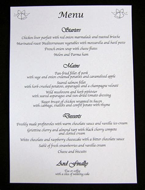 menu card for wedding reception table menus wedding day evening reception cards bells menu card menu cards receptions and