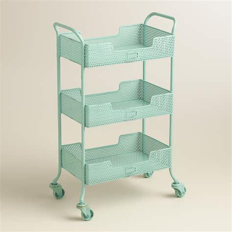 Kitchen Cabinet Redo Blue Punched Metal Yvette Rolling Cart World Market