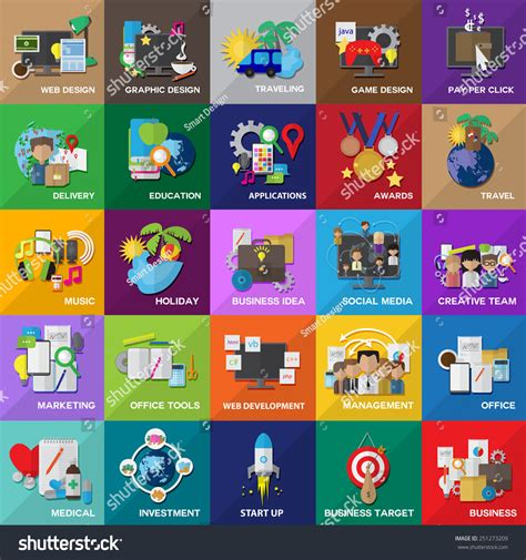 game design network flat icons set for web design stock vector 251273209