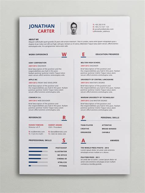 Modern Resumes Templates by Modern Resume Template Psd Word