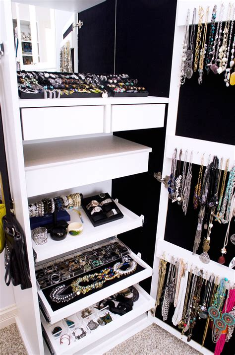 desk inside a closet full length mirror with jewelry storage inside bedroom