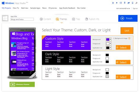 themes editor apps use microsoft app studio to create professional apps for