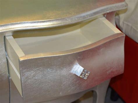 comodino argento comodino comodino foglia argento castagnetti in legno in