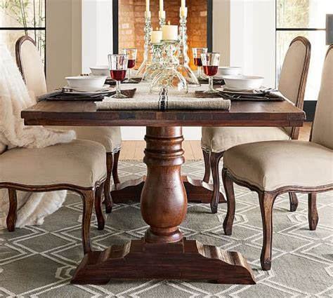 rectangular square reclaimed wood dining table bowry reclaimed wood dining table pottery barn
