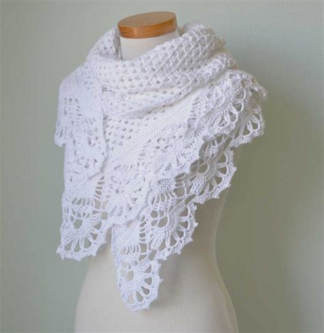 white lace shawl  crochet royal trim