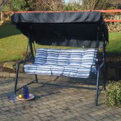 Replacement Seats For Patio Chairs Deluxe Blue 3 Seater Swing Seat With Cushions The Uk S