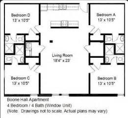 4 Bedroom Open Floor Plan Boone Hall Apartments