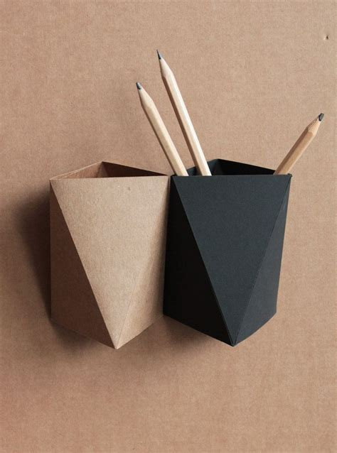 Origami Pen Stand - 3box origami paper box desk pen holder pencil cup