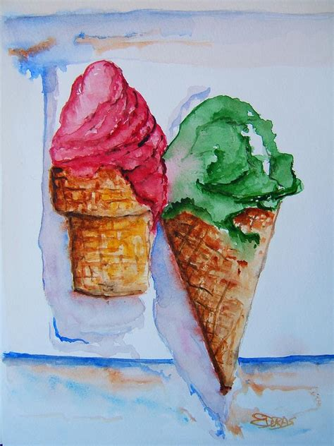 Sirwal Begy Jumbo Canvas Wafer wafer or waffle cone painting by elaine duras