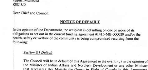 notice of default letter template notice of default letter peguis nation