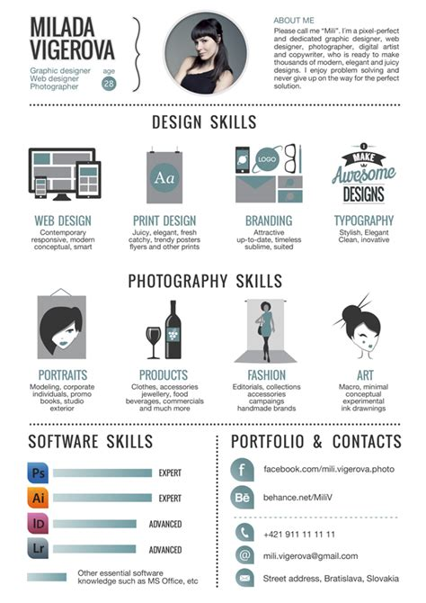 visual communication design skills infographic resume by teresa mira