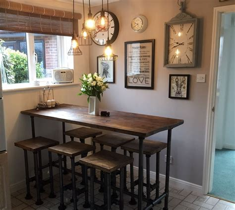 details about high gas pipe breakfast bar kitchen table
