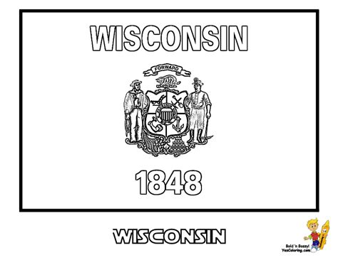Wisconsin State Flag Coloring Page wisconsin state flag coloring page coloring home