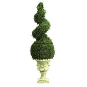 Faux Topiary Indoor - 4 cedar spiral artificial topiary tree w decorative vase
