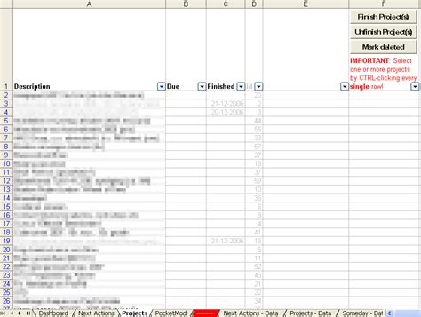 Implementing Gtd With Excel Getting Things Done Gtd Project Planning Template