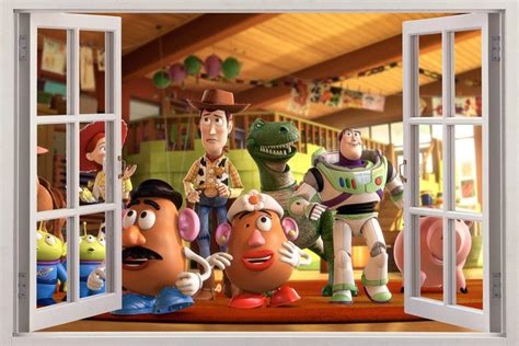 toy story home decor toy story 3d window view decal wall sticker home decor art