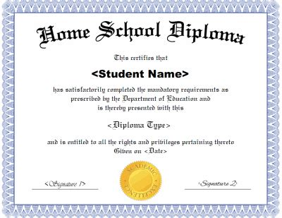 Homeschool Diploma Template Free Printable High School Diploma Templates