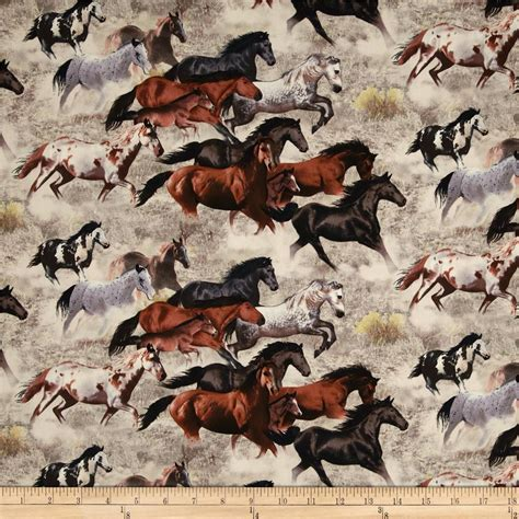 horse fabric for curtains happy trails allover horses earth discount designer