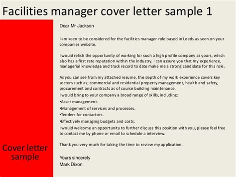 Cover Letter For Facilities Manager facilities manager cover letter