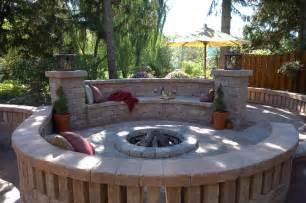 unilock fire pit patio wall