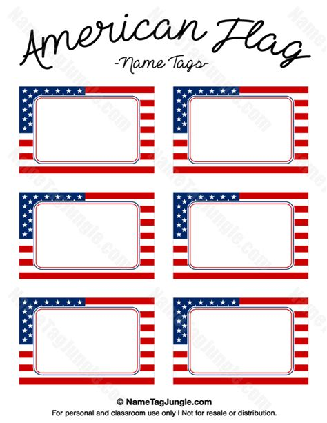 name cards template for classroom printable american flag name tags