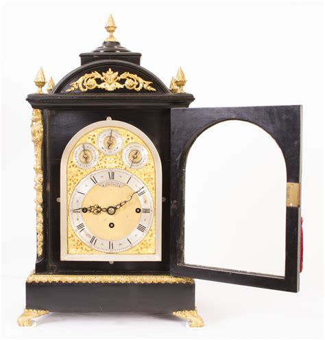 Regent Antiques   Clocks   Antique Ebonised Gilt Bronze Chiming Mantel Clock c1860