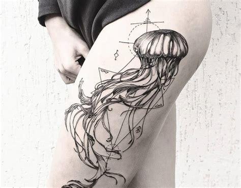 geometric tattoo jellyfish wonderful geometric black ink jellyfish tattoo on thigh