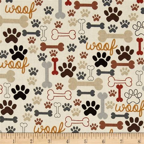 printable fabric uk timeless treasures dog bones paw prints cream from